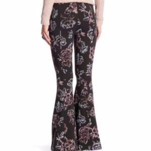 Free People Zip-Front Floral High-Waist Flares